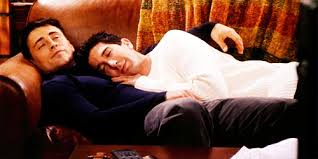 Joey and Ross from FRIENDS sleeping on Couch