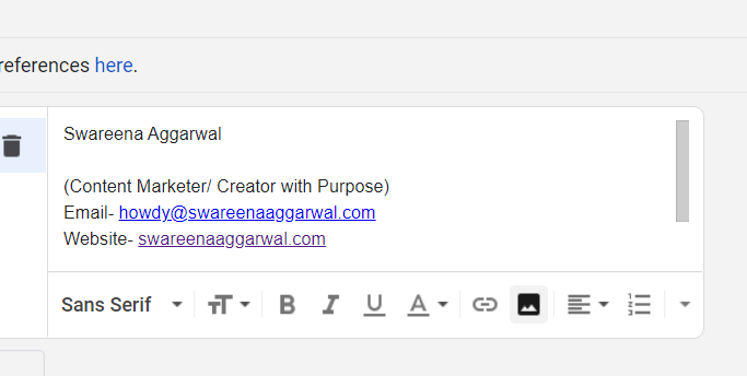 My Email Signature Swareena Aggarwal (Content Marketer/ Creator with Purpose) Email- howdy@swareenaaggarwal.com Website- swareenaaggarwal.com Linkedin | Instagram